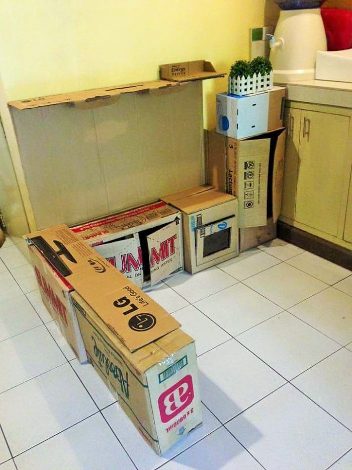 Cardboard play kitchen set 2