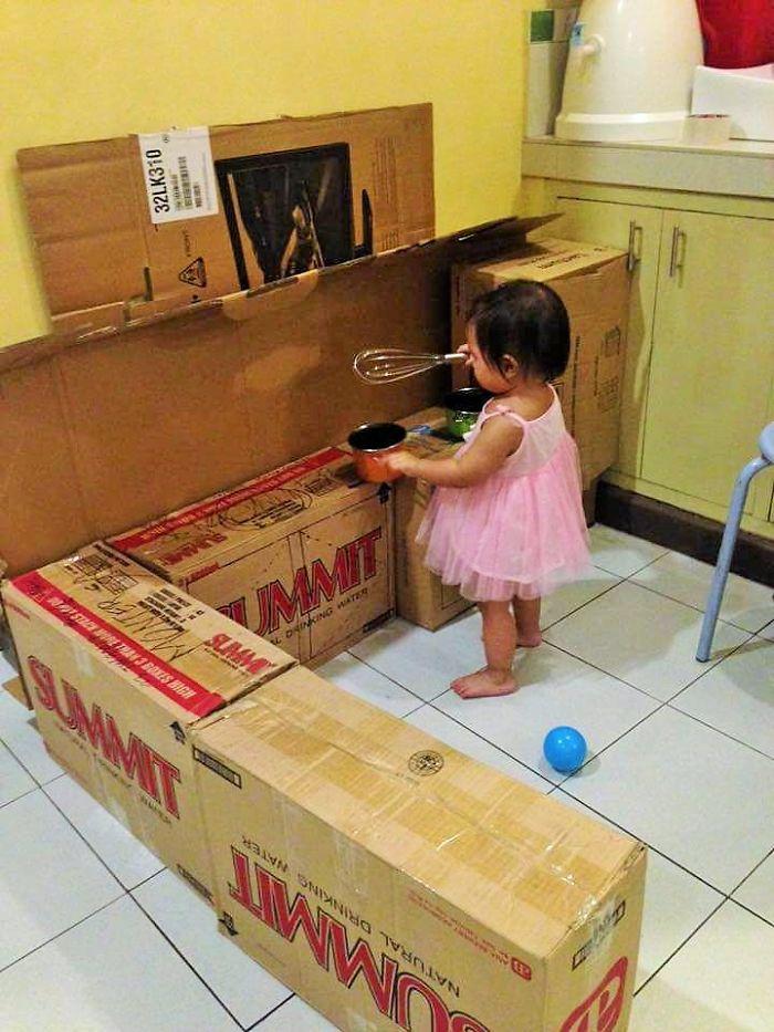 Cardboard play kitchen set 3