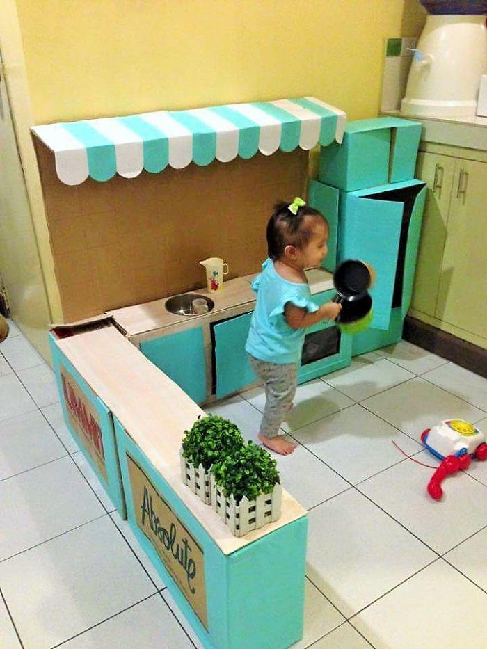 Cardboard play kitchen set 4