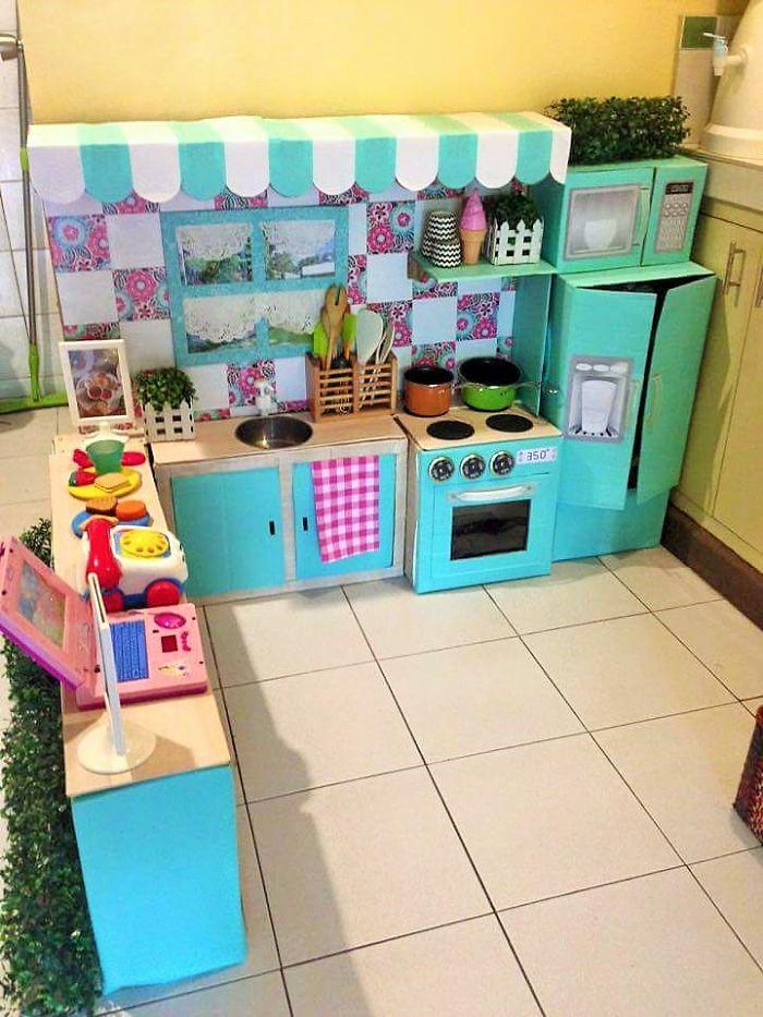 Cardboard play kitchen set 5