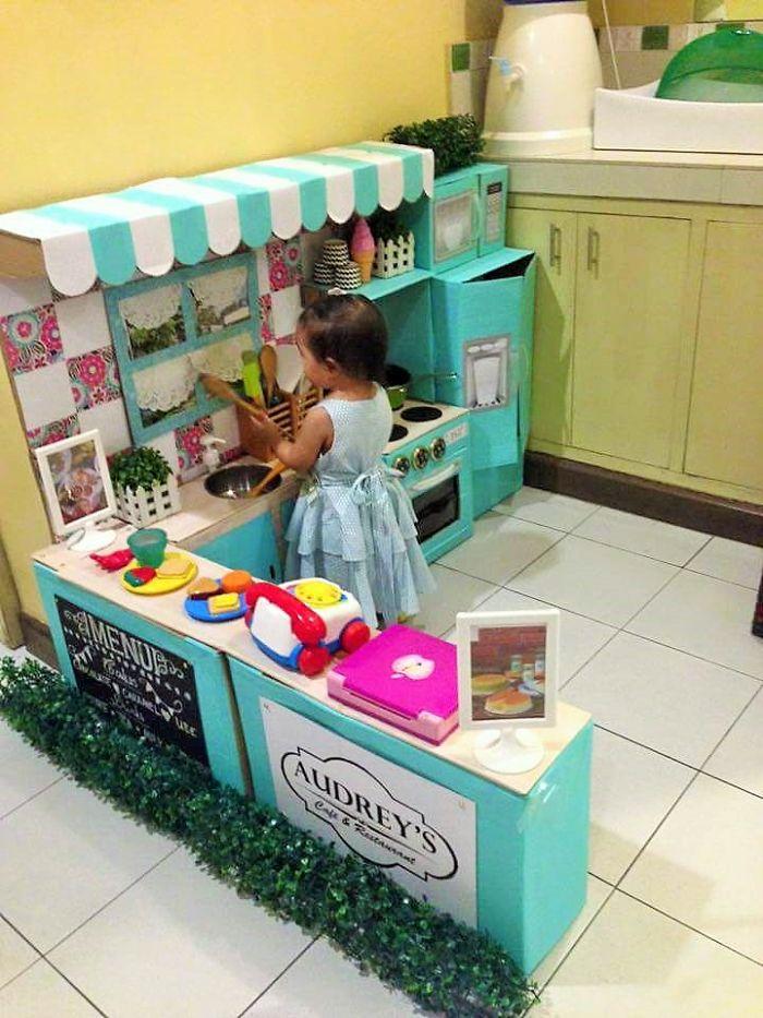 Cardboard play kitchen set 9