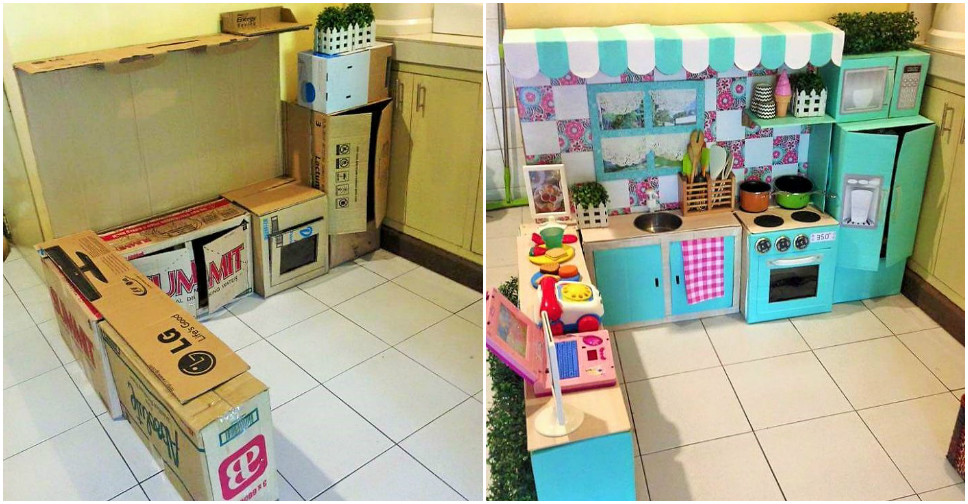 Mini Toy Play Kitchen Set For Kids Made Of Cardboard Boxes ...